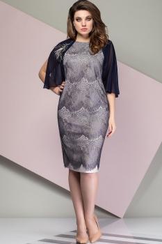 Платье Эледи 2752 Темно-синий/Бежевый
