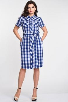 Платье Elga 01-535 синяя клетка
