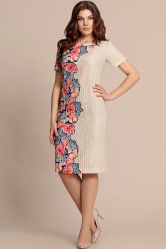 Платье Elza 2727 Бежевый/Цветы