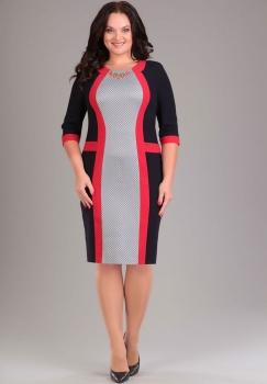 Платье Эола Стиль 1153 серый+черный+красный