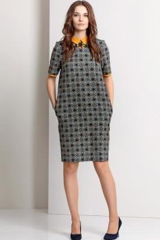 Платье Эола Стиль 1317 серый с горчицей