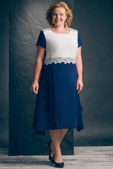 Платье Erika Style 425-1 синий с белым