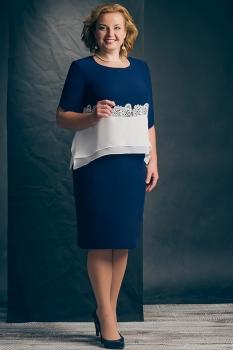 Платье Erika Style 428 синий с белым