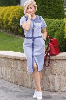 Платье Erika Style 497-1 голубая клетка