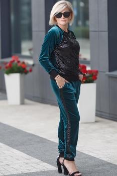 Спортивный костюм Erika Style 521-1 черный+зеленый