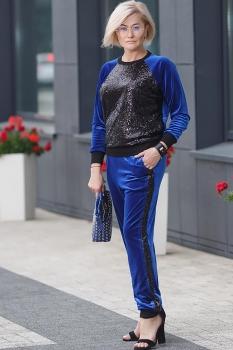 Спортивный костюм Erika Style 521-3 черный+василек