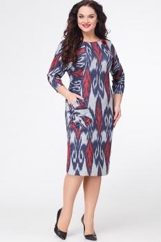 Платье Erika Style 523-5 серый+синий+красный