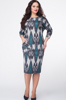 Платье Erika Style 523-6 серый+черный+зеленый