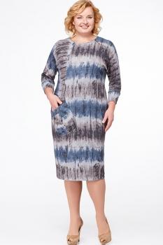 Платье Erika Style 523-7 серый+голубой+коричневый
