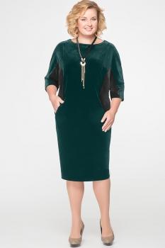 Платье Erika Style 525-1 зеленый с черным