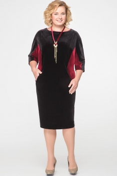 Платье Erika Style 525 черный с бордо