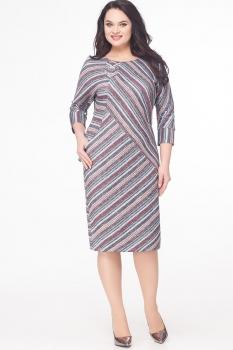 Платье Erika Style 538-4 розовый  в полоску