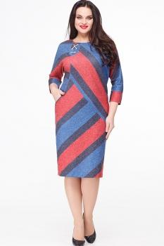 Платье Erika Style 538-6 красный+синий+василек