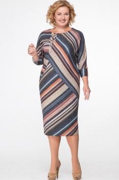 Платье Erika Style 538 бежевый+серый+оранжевый