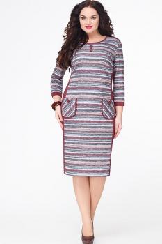 Платье Erika Style 551 бордовый+розовый