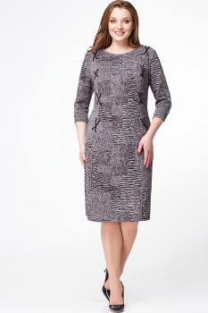 Платье Erika Style 552 серый+черный