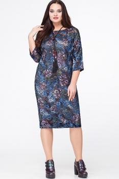 Платье Erika Style 561-4 черный+голубой+розовый