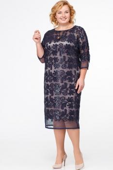 Платье Erika Style 561 бронза с синим