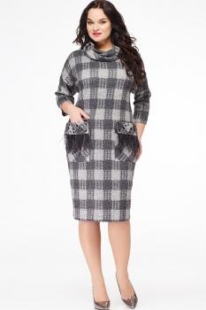 Платье Erika Style 567-1 серый в клетку