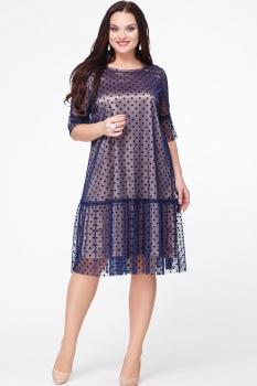 Платье Erika Style 572 бронза+ синий горох