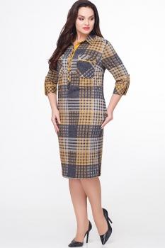 Платье Erika Style 573 серый+желтый