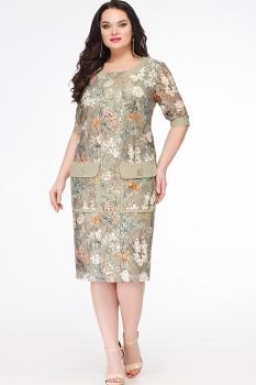 Платье Erika Style 614 серо-зеленый