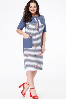 Платье Erika Style 618 синий/красный