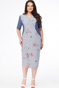 Платье Erika Style 630-1 синий в полоску