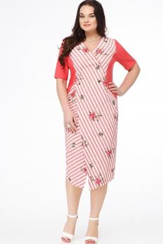 Платье Erika Style 630-2 коралл в полоску