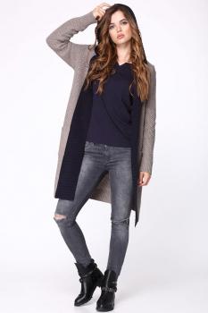 Пальто My Fashion House By Elma 3308 серый+джинс