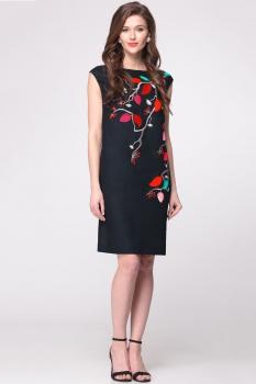 Платье Faufilure 147С черный+красный