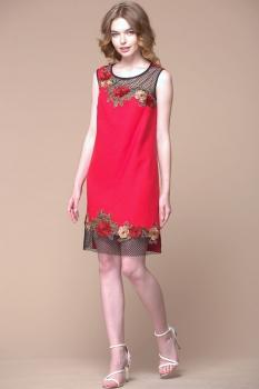 Платье Faufilure 288С оттенки красного