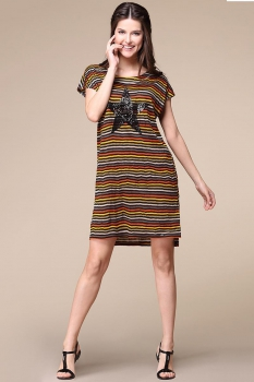 Платье Faufilure 292С-4 черно-оранжевый