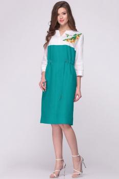 Платье Faufilure 386С-1 бирюзовые тона