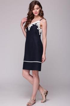 Платье Faufilure 401С синий+молочный
