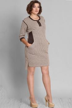 Платье Галеан стиль 585 бежевый в клетку