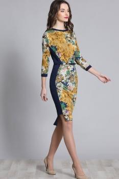 Платье Галеан стиль 586-1 желтый с синим