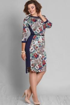 Платье Галеан стиль 586 темно-синий в цветы