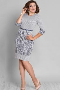 Платье Галеан стиль 595 серый в полоску