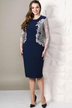Платье Golden Valley 4451 тёмно-синий с белым