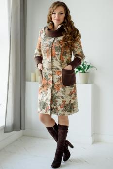 Пальто ЮРС 17-371-1 коричневый