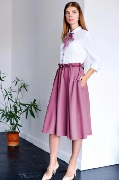 Платье ЮРС 17-751 белый с ягодным