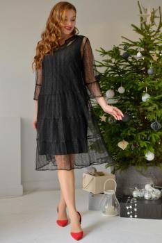 Платье ЮРС 17-773-1 черный в мушку