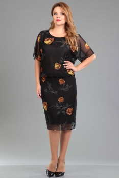 Платье Ива 942 цветы на черном