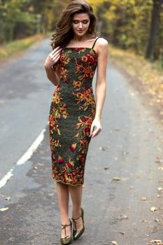 Платье Juanta 2465 тёмно-зелёный, цветы