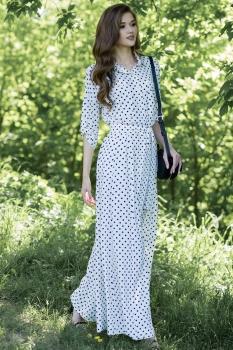 Платье Juanta 2530 горохи белый+синий