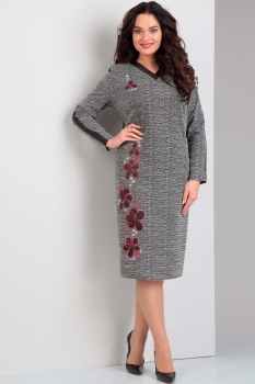 Платье Jurimex 1703 серый с красной вышивкой