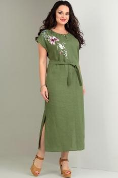 Платье Jurimex 1720-1 Зеленый с цветной вышивкой