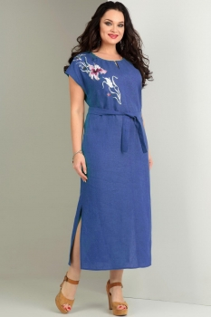 Платье Jurimex 1720-2 васильковый с цветной вышивкой