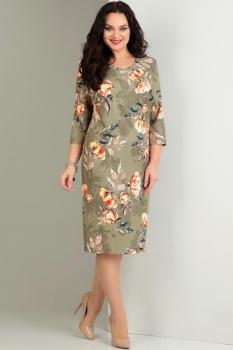 Платье Jurimex 1721 хаки с цветным принтом